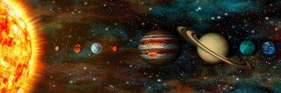 Фотообои Солнечной системы, планет в ряд, UltraWide
