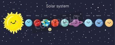 Фотообои Солнечная система с милой улыбкой планет, Солнца и Луны. Векторная иллюстрация