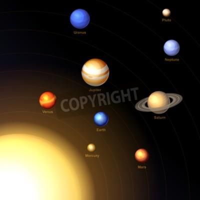 Фотообои Солнечная система с Солнцем и планетами на темном фоне. Вектор