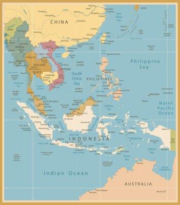 Фотообои Юго-Восточной Азии Карта Подробная Урожай цветов