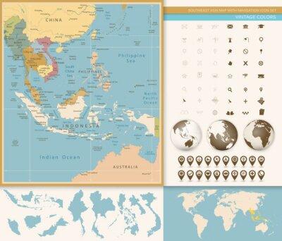 Фотообои Юго-Восточной Азии Карта Подробная с навигацией Icon Set.