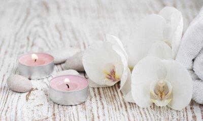 Фотообои СПА набор с белыми орхидеями