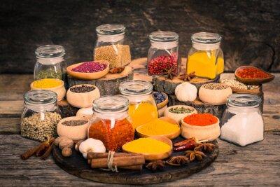 Фотообои Специи и травы на деревянный стол