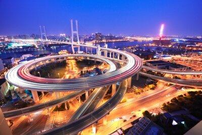 Фотообои Спираль мост в Шанхае реки Хуанпу на высоты птичьего полета O