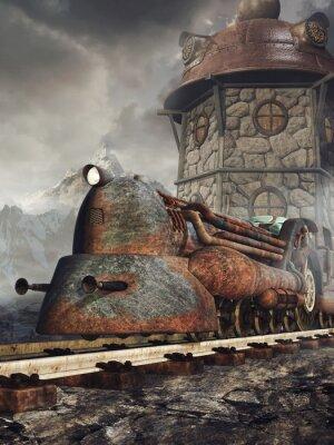 Фотообои Стара zardzewiała lokomotywa на TLE wieży