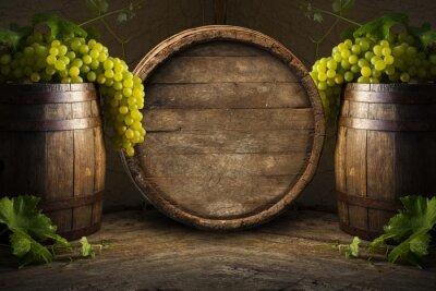 Фотообои Натюрморт вина с деревянной бочке