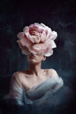 Фотообои Strange fine art concept. The body of a woman, her head is a peony
