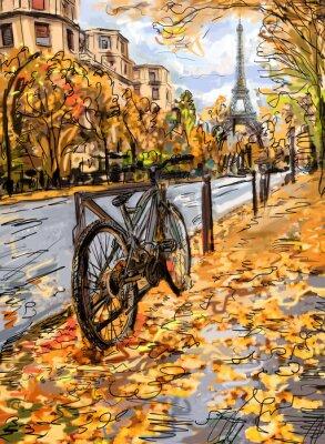 Фотообои Улица в осенний Париж. Эйфелева башня -sketch иллюстрация