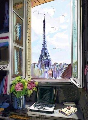 Фотообои Улица в Париже. Эйфелева башня - иллюстрация