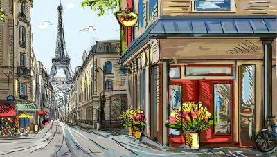 Фотообои Улица в Париже - иллюстрация