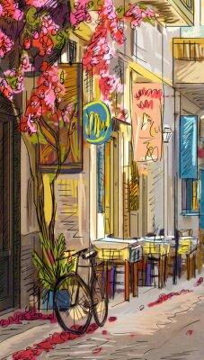 Фотообои Улица в Риме - иллюстрация