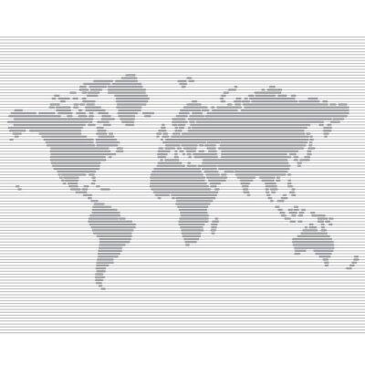 Фотообои полосатый мировой линии шаблон карты вектор