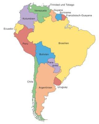 Фотообои Sudamerika Karte в Farbe (мит Beschriftung)