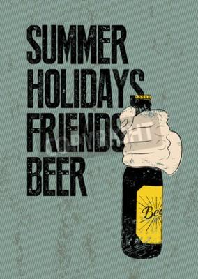 Фотообои Лето, отдых, друзья, пиво. Типографски ретро гранж пиво постер. Рука держит бутылку пива. Векторная иллюстрация.