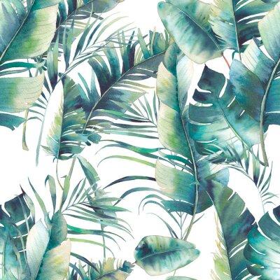 Фотообои Летняя пальма и банан оставляет бесшовные модели. Текстура акварель с зелеными ветвями на белом фоне. Дизайн тропических обоев ручной работы
