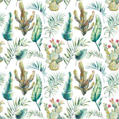 Фотообои Летняя пальма, кактус и банановые листья бесшовные модели. Акварельные зеленые ветви и цветущие сочные на белом фоне. Экзотический дизайн обоев