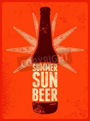 Фотообои Лето, солнце, пиво. Типографски ретро гранж пиво постер. Векторная иллюстрация.