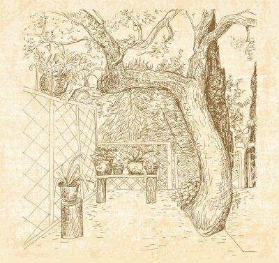Фотообои Летний солнечный внутренний дворик в стиле арт-каракули ручкой. Ручной обращается вектор эскиз с холста текстурированный фон.