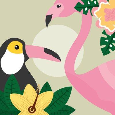 Фотообои лето тропические птицы тукан и фламинго векторные иллюстрации