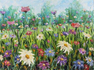 Фотообои Лето диких цветов, живопись маслом