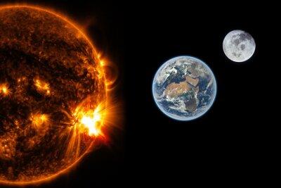 Фотообои Солнце, Земля и Луна - Элементы этого изображения, предоставленную NASA