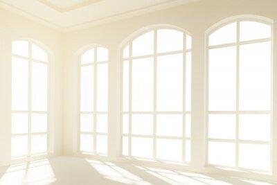 Фотообои Солнечный белый интерьер с большими окнами