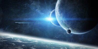 Фотообои Восход солнца над планетой Земля в космосе
