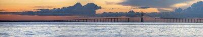 Фотообои Закат и Манаус Iranduba Мост через Amazon, Бразилия