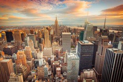 Фотообои Вид на закат от Нью-Йорка, оглядываясь на центре Манхэттена