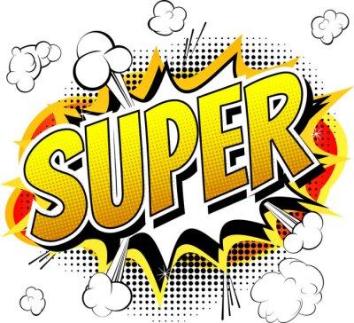 Фотообои Super - Comic book style word isolated on white background.