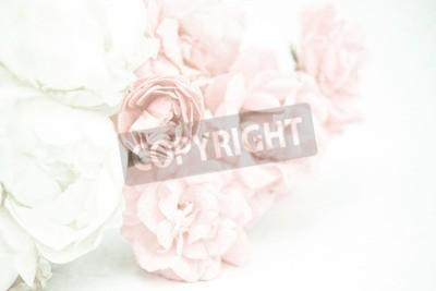 Фотообои Сладкие цветные розы в мягком и размытом стиле на текстуре бумаги тутового дерева