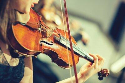 Фотообои Симфонический оркестр на сцене, руки играть на скрипке