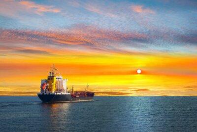 Фотообои Tanker ship on calm sea in the morning.