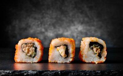 Фотообои Вкусные роллы на черном