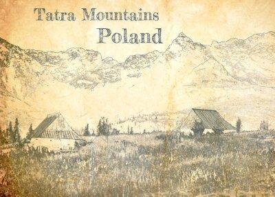 Фотообои Tatra mountain in Poland, sketch on old paper