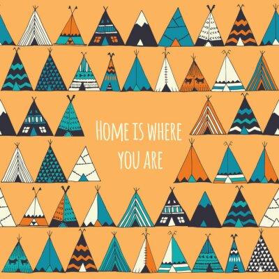 Фотообои Teepee иллюстрации в векторе. Дом там, где вы знак.