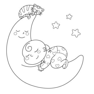 Фотообои Tenera луна кон Bebè че dorme