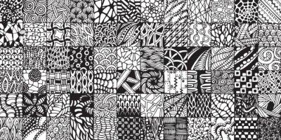 Фотообои текстуры с черными и белыми квадратами окрашены в стиле zentangl