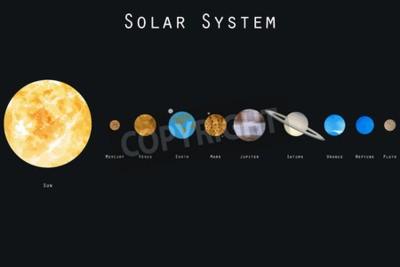 Фотообои Планеты Солнечной системы. Векторная иллюстрация.