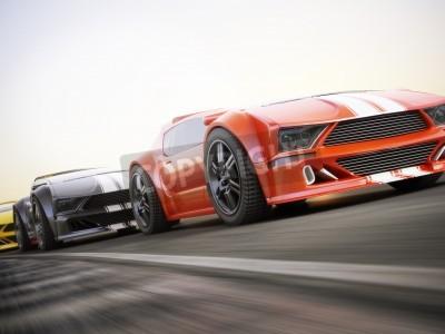 Фотообои Гонка, экзотических спортивных автомобилей гоночных с размытость. Родовой пользовательские фото реалистичные 3D-рендеринга.