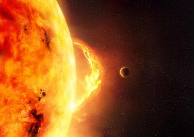 Фотообои Солнце - Солнечная вспышка. Иллюстрация солнца и солнечной вспышки с планетой, чтобы дать шкалу к размеру факела.