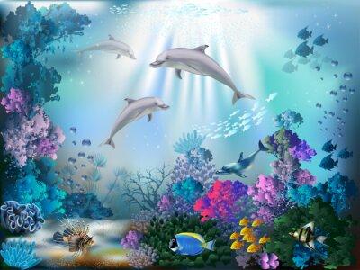 Фотообои Подводный мир с дельфинами и растений