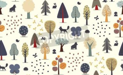 Фотообои Вектор иллюстрирует бесшовные модели плоских лесных элементов - различные деревья, дикие животные и семена.