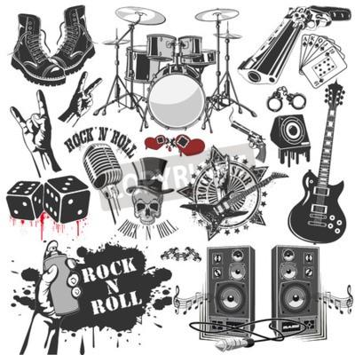 Фотообои Векторное изображение набора векторных символов, относящихся к рок-н-роллу