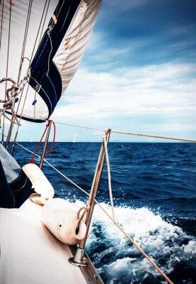 Фотообои Белые паруса яхт на фоне моря и неба в облаках