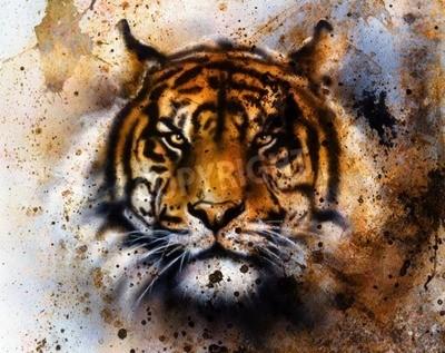 Фотообои тигр коллаж на цвет абстрактного фона, структуры ржавчины, диких животных, зрительный контакт.