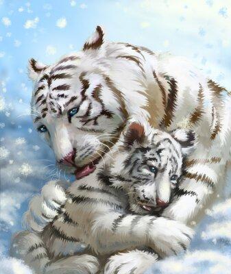 Фотообои семьи тигра