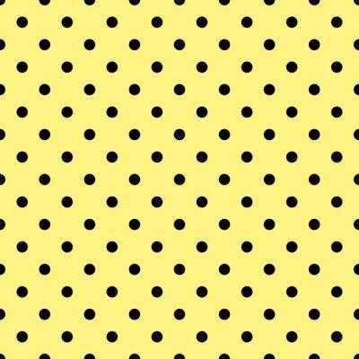 Фотообои Плитка вектор шаблон с черными горошек на желтом фоне