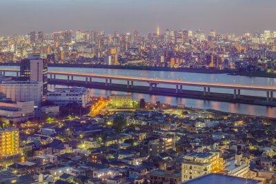 Фотообои вид на город Токио с Токийской башни в сумерках