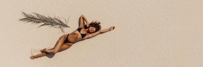 Фотообои Top Aerial Drone View of Woman in Swimsuit Bikini Relaxing and Sunbathing on Beach